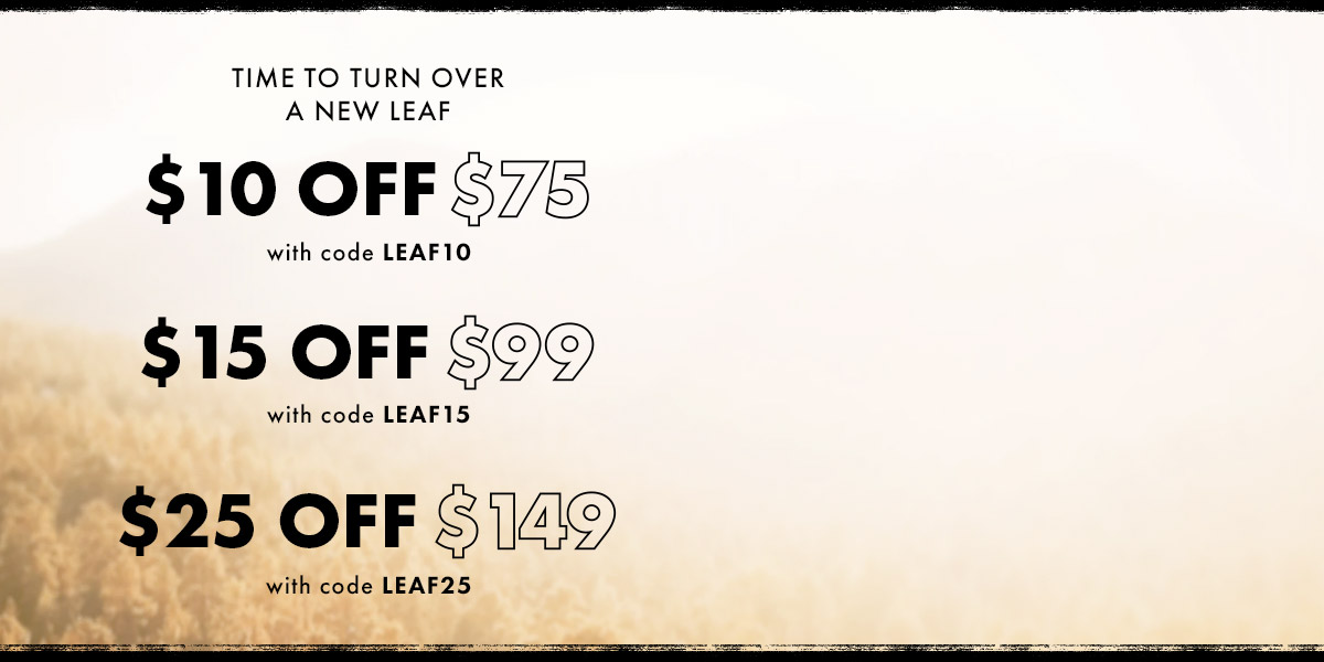 $10 off $75 with code LEAF10