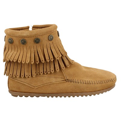 Women's Minnetonka, Double Fringe Side Zip Boots