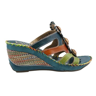 Women's L'Artsite by Springstep, Buttons Mid Heel Wedge Sandals