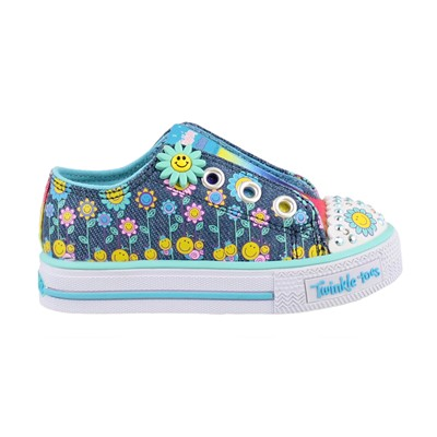 Girl's Skechers, S Lights Shuffles Dancing Daisies Slip on Shoes