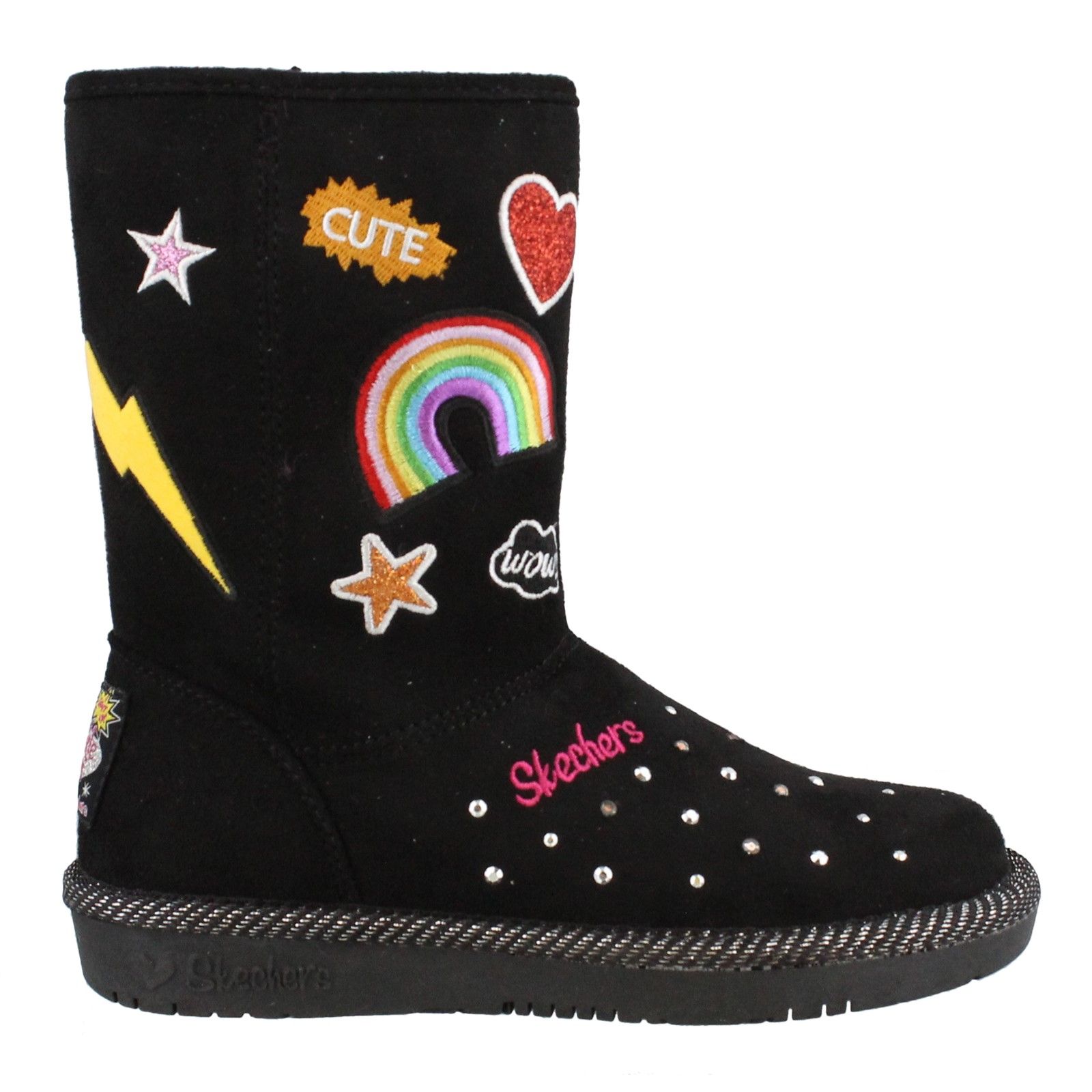 Girl's Skechers, S Lights Glamslam Patch'N Up Boots