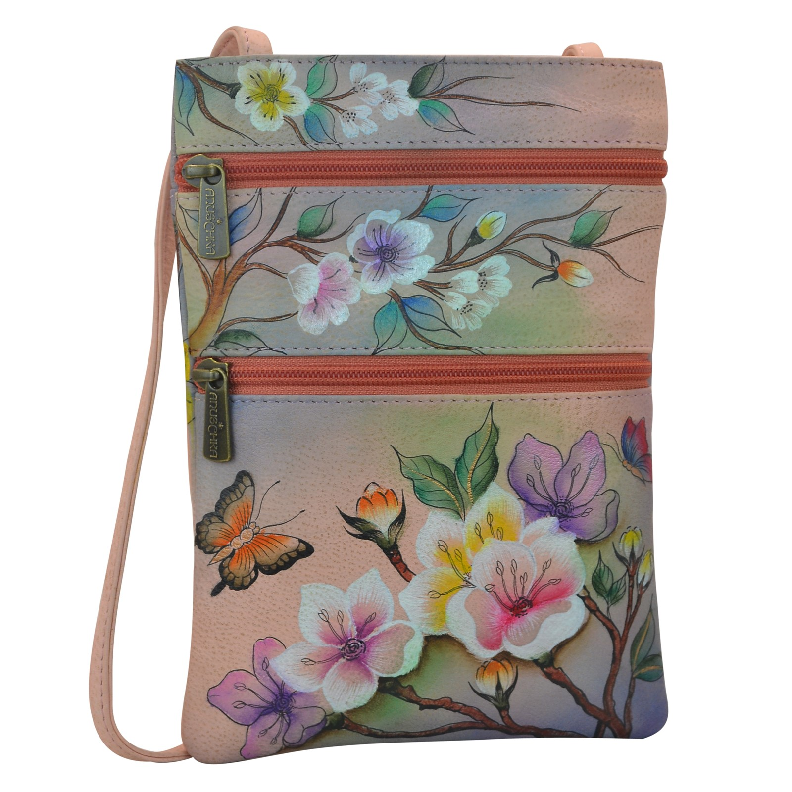 Women's Anuschka, Hand painted leather multi compartment small bag
