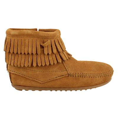 Girl's Minnetonka, Double Fringe Side Zip Boots