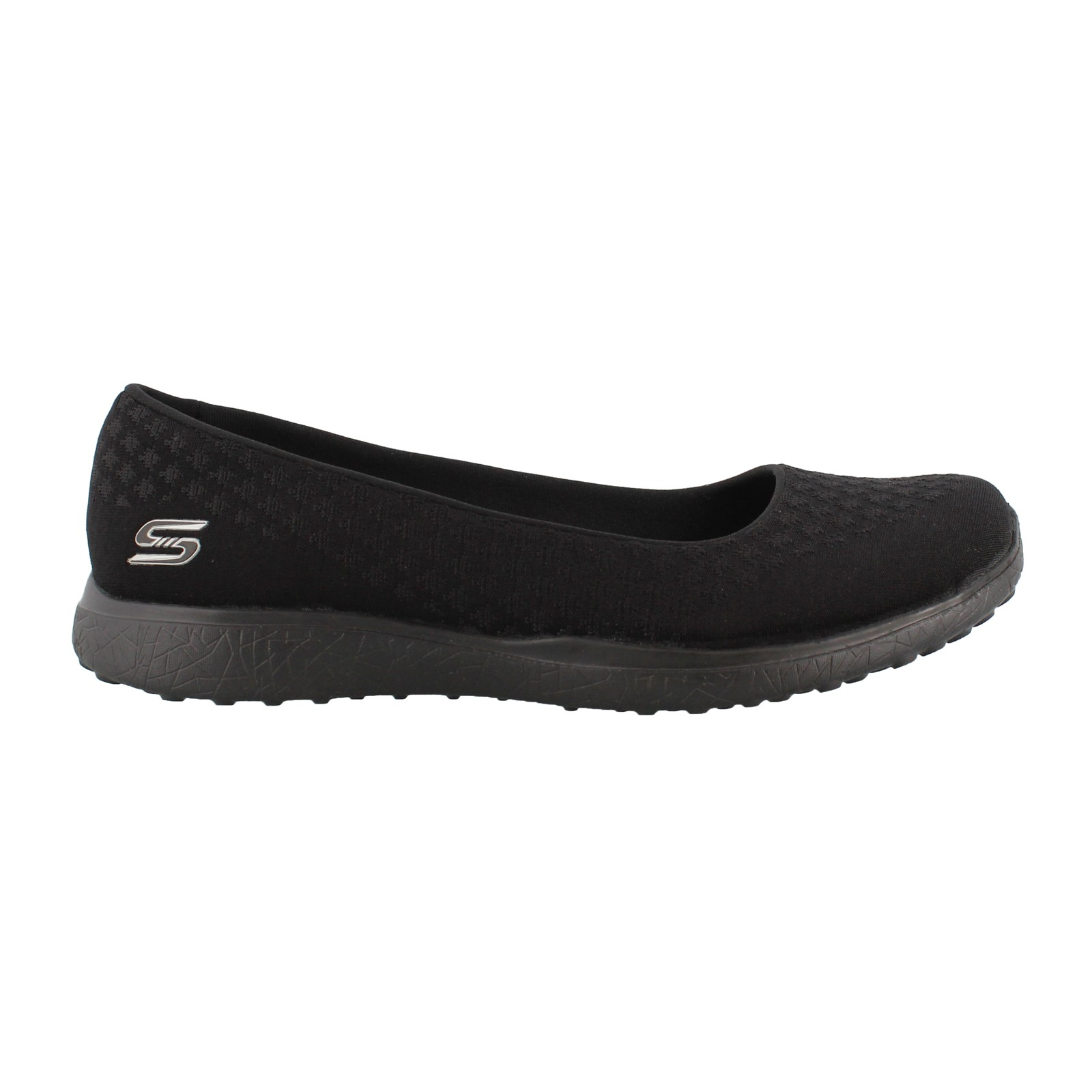 Skechers Microburst One Up Black Womens Slipon Shoes