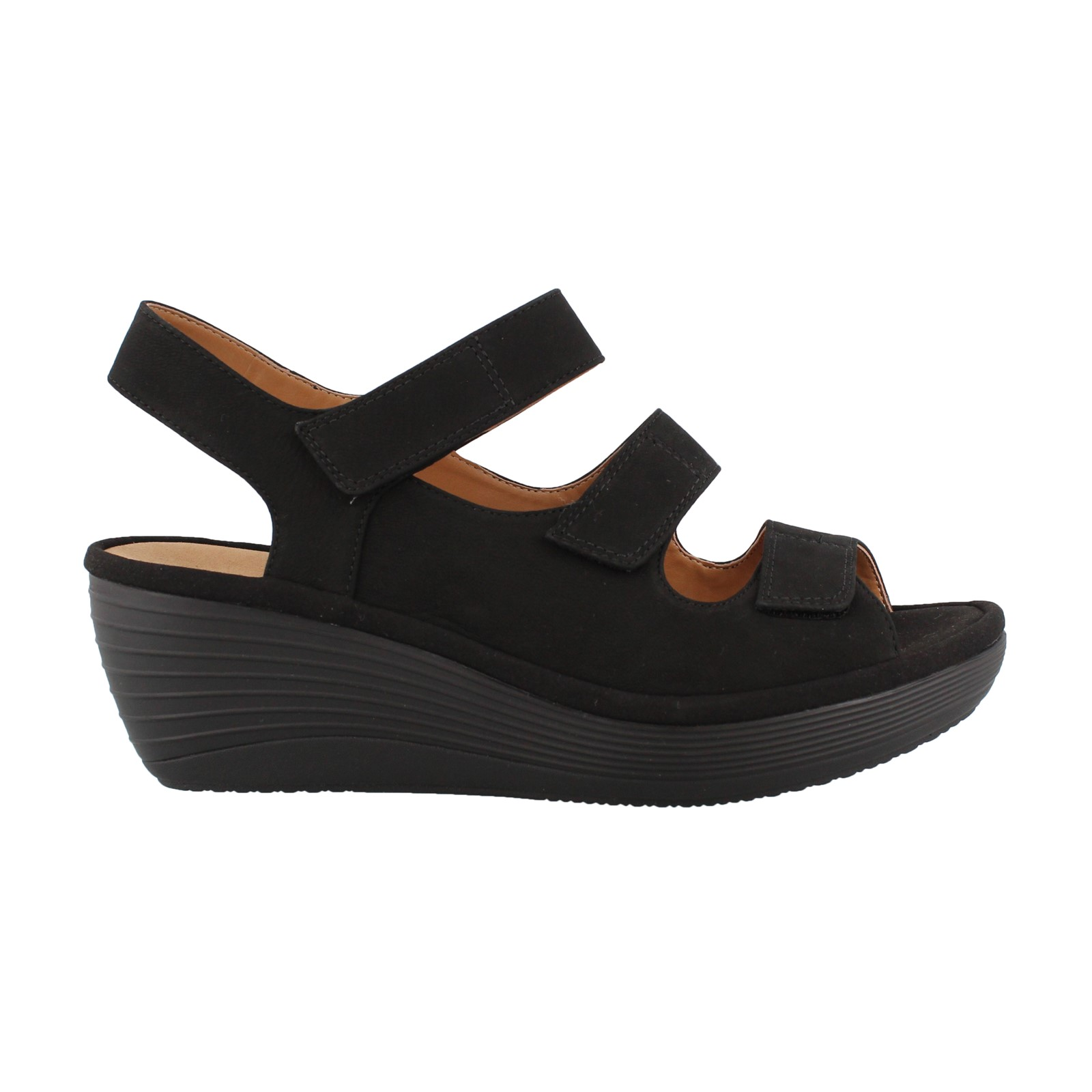 Women's Clarks, Reedly Juno Mid Heel Wedge Sandals